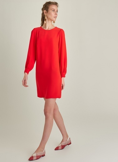 Ng Style Bisiklet Yaka Mini Elbise Kırmızı